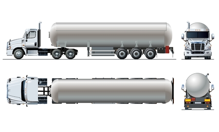 Vector realistic tunker truck template isolated on white. Available EPS-10 separated by groups and layers with transparency effects Illustration