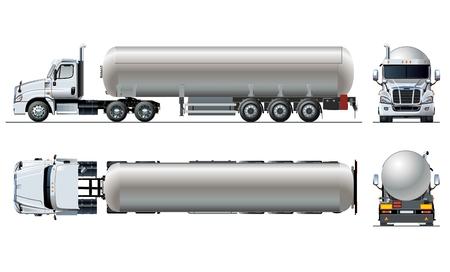 Vector realistische Tunker-LKW-Schablone, die auf Weiß lokalisiert wird. Verfügbares EPS-10 getrennt durch Gruppen und Ebenen mit Transparenzeffekten
