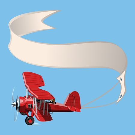 Vector Cartoon Biplane with banner. Available EPS-10 vector format separated by groups and layers for easy edit