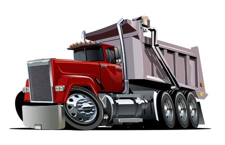 Vector de dibujos animados camión volquete. Formato vectorial EPS-10 disponible separado por grupos y capas para editar fácilmente