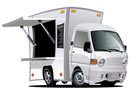 Cartoon food truck isolated on white background. Available EPS-10 vector format separated by groups and layers for easy edit Çizim