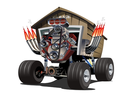Cartoon Garage Truck. Available EPS-10 separated by groups for easy edit Illustration