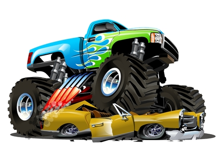 Vector Cartoon Monster Truck. Available EPS-10 separated by groups and layers with transparency effects for one-click repaint 向量圖像