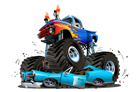 Vector Cartoon Monster Truck. Available EPS-10 separated by groups and layers with transparency effects for one-click repaint 일러스트