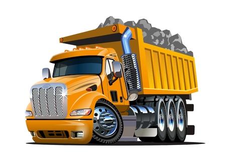 Vector de dibujos animados camión volquete. Formato vectorial EPS-10 disponible separado por grupos y capas para editar fácilmente Ilustración de vector