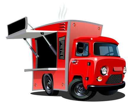 Cartoon food truck isolated on white background. Available EPS-10 vector format separated by groups and layers for easy edit Illustration