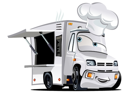 Cartoon food truck isolated on white background. Available EPS-10 vector format separated by groups and layers for easy edit Illusztráció