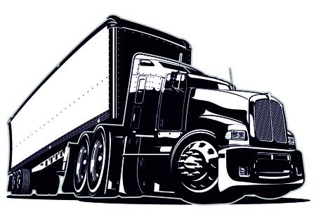 セミトラックを漫画します。使用可能なベクトル形式のグループおよび簡単な編集のための層で区切られました。