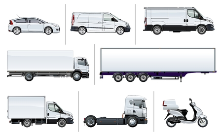 Vector realistic delivery transport template for brand identity, isolated on white. Side views. EPS-10 separated by groups and layers with transparency effects for one-click repaint and easy edit. Vektoros illusztráció