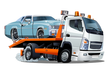 Cartoon tow truck isolated on white background. Available EPS-10 vector format separated by groups and layers for easy edit. Stok Fotoğraf - 83557592