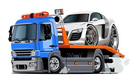 Camion di rimorchio del fumetto isolato su sfondo bianco. formato vettoriale EPS-10 costituito da gruppi e strati per facile facile Archivio Fotografico - 83803844