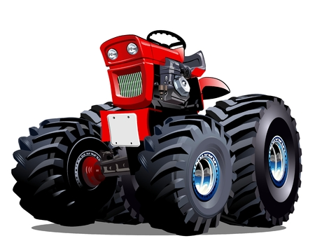 automotive industry: Vector Cartoon Tractor. Available EPS-10 vector format separated by groups for easy edit