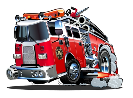 Vector cartoon firetruck. Formato vettoriale EPS-10 disponibile separato da gruppi e livelli per una facile modifica