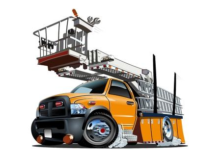 Plate-forme Vector Cartoon Lift Truck. EPS-10 disponibles séparés par groupes et calques avec des effets de transparence pour le repeindre en un clic Banque d'images - 84410843