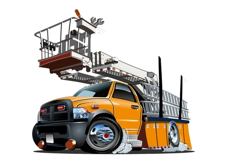 Vector Cartoon Platform Lift Truck. Available EPS-10 separated by groups and layers with transparency effects for one-click repaint Ilustração
