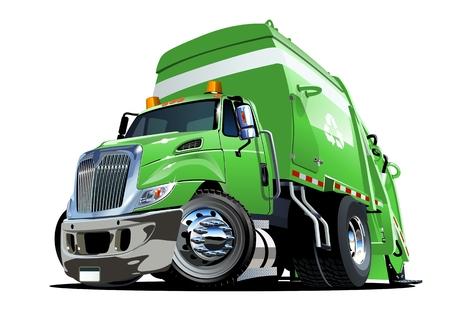 Cartoon Garbage Truck geïsoleerd op een witte achtergrond. Beschikbaar EPS-10 vectorformaat gescheiden door groepen en lagen voor eenvoudig bewerken Stock Illustratie