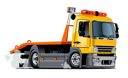 the wrecker: Cartoon tow truck isolated on white background. Available EPS-10 vector format separated by groups and layers for easy edit
