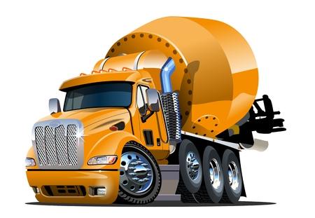 Camion de mélangeur de dessin animé de vecteur Format vectoriel EPS-10 disponible séparé par des groupes et des couches pour l'édition facile Vecteurs