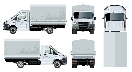 흰색에 고립 된 벡터 트럭 템플릿입니다.