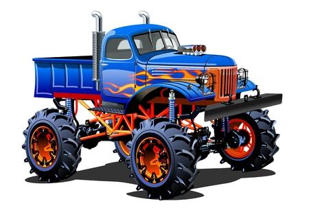 Cartoon Monster Truck. 한 번의 클릭으로 다시 칠하기 위해 투명 효과가있는 그룹 및 레이어로 구분 된 사용 가능한 EPS-10 일러스트