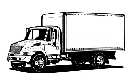 Vector truck outline template isolated on white. Available EPS-8 separated by groups and layers for easy edit.