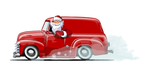 Cartoon retro Christmas delivery van.