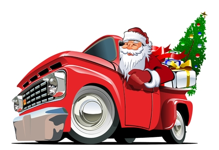 Cartoon retro Christmas delivery truck.