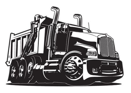 Camion à benne basculante vecteur de dessin animé. Banque d'images - 90152745
