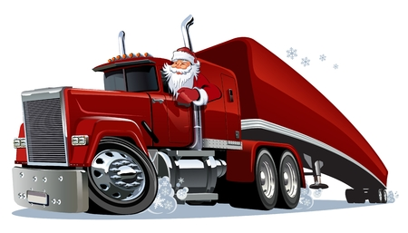 Cartoon retro Christmas semi truck. Available eps-10 vector format separated by groups and layers for easy edit Imagens - 90618579