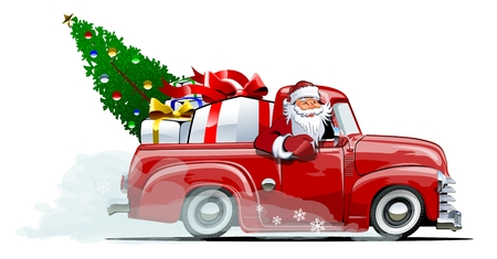 Cartoon retro Christmas delivery pickup. Available eps-10 vector format separated by groups with transparency effects for one-click repaint