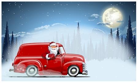 Eine Vektor-Weihnachtskarten-Hintergrundillustration von Santa Claus auf dem Auto. Verfügbares EPS-10-Format, getrennt nach Gruppen und Ebenen, zur einfachen Bearbeitung