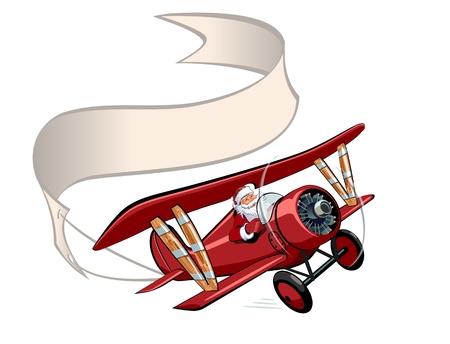 ベクトル漫画レトロなクリスマス バナーと飛行機。