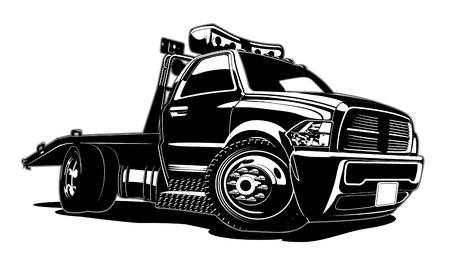 漫画のレッカー車は、白い背景に隔離されています。簡単に編集するためのグループとレイヤーで区切られた利用可能なEPS-8ベクトルフォーマット