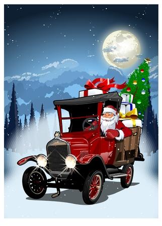 Vector Christmas card design Çizim