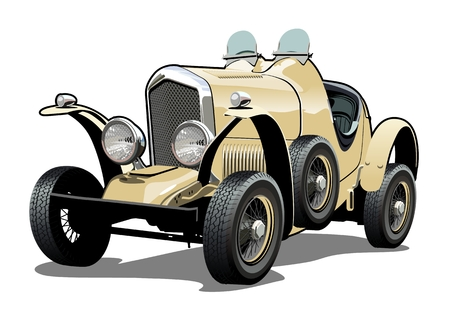 Cartoon retro car. Available eps-10 vector format separated by groups with transparency effects for one-click repaint Stock Illustratie