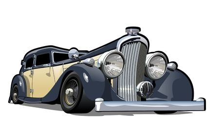 Cartoon retro car. Available eps-10 vector format separated by groups with transparency effects for one-click repaint Vectores