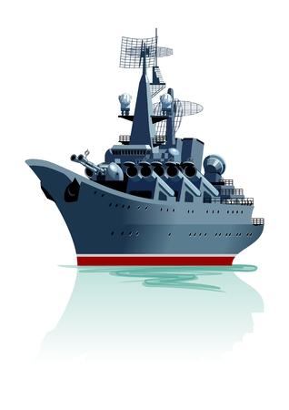 Cartoon battleship illustration.
