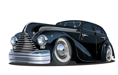 Cartoon retro car. Available vector format separated by groups for easy edit.