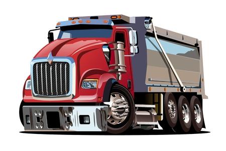 ベクトル漫画ダンプトラック。ワンクリック再描画のための透明効果を持つグループで区切られた利用可能なベクター形式