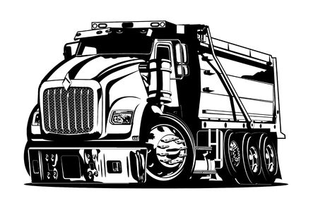 Vector Cartoon Dump Truck. vector format separated by groups and layers for easy edit
