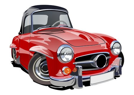 Cartoon retro car. vector format separated by groups with transparency effects for one-click repaint  イラスト・ベクター素材
