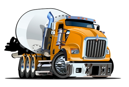 vector de dibujos animados camión mezclador vector de formato lleno por los grupos y las capas para facilitar la edición