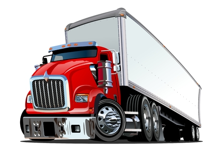 Cartoon semi truck isolated on white background. Vectores