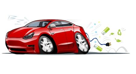 Vector cartoon electric car. Иллюстрация