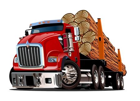Cartoon logboekregistratie vrachtwagen geïsoleerd op een witte achtergrond. Beschikbaar EPS-10-vectorformaat gescheiden door groepen en lagen voor eenvoudige bewerking