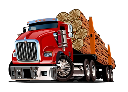 Cartoon logging truck isolated on white background. Available EPS-10 vector format separated by groups and layers for easy edit