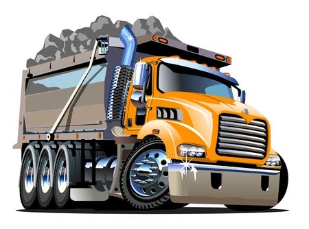 ベクトル漫画ダンプトラック。簡単に編集するためのグループとレイヤーで区切られた利用可能なベクター形式