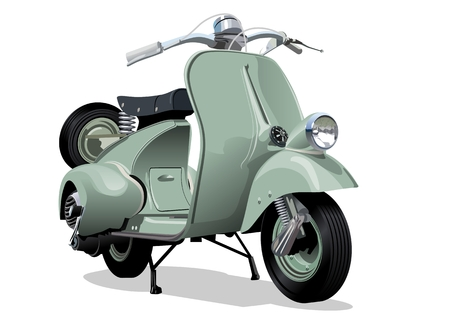 Vector retro scooter. Available EPS-10 format separated by groups and layers vith transparency effects for one-click repaint