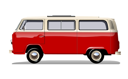 Retro van isolated on white background separated by groups and layers with transparency effects for one-click repaint and easy edit.