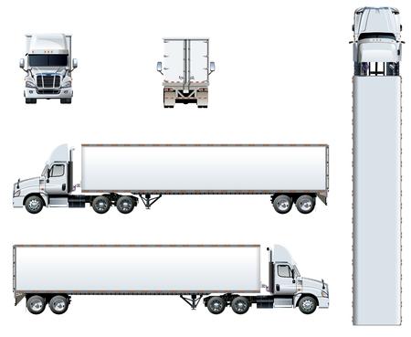 Vector vrachtwagen sjabloon geïsoleerd op wit. Beschikbare EPS-10 gescheiden door groepen en lagen met transparantie-effecten voor opnieuw schilderen met één klik Stockfoto - 95000731